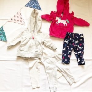 Carter's Baby Girl 3 Month Bundle Pants and Hoodie